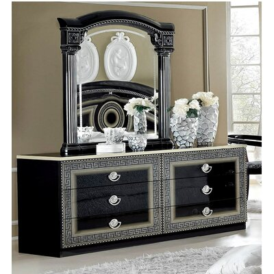 6 Drawer Dresser with Mirror Color: Black / Silver