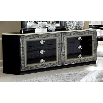 6 Drawer Double Dresser Color: Silver