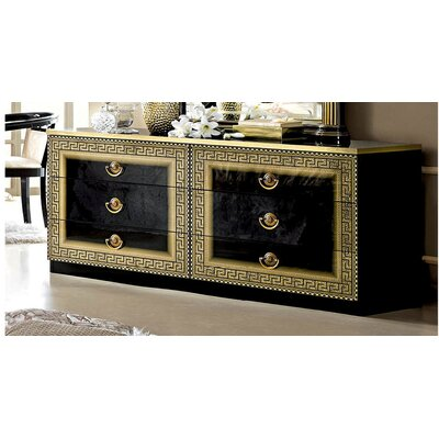 6 Drawer Double Dresser Color: Gold