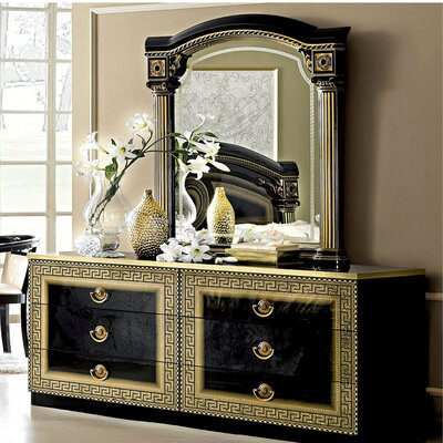 6 Drawer Dresser with Mirror Color: Black / Gold