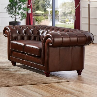 Leather Chesterfield Loveseat