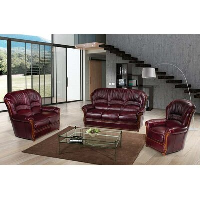 Burgundy 3 Piece Leather Living Room Set