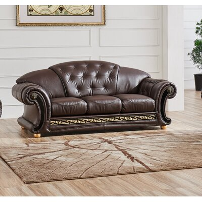 Noci Leather Sofa Upholstery: Brown
