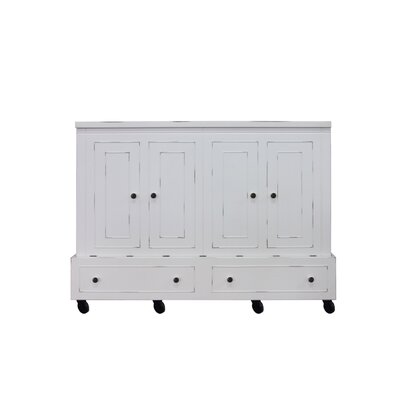 Rolling Queen Storage Murphy Bed with Mattress Color: White