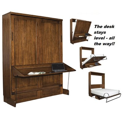 Chikodi Queen Murphy Desk Bed with Door Bookcase