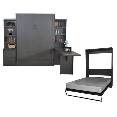 Quinn Queen Murphy Bed with Drawer Bookcase and Door Bookcase and Desk Color: Metro Gray