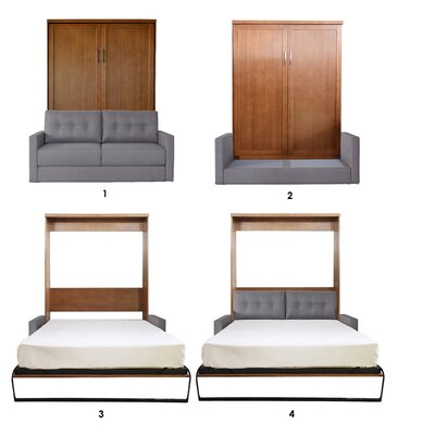 Delapaz Queen Upholstered Murphy Bed Frame Color: Nutmeg, Headboard Color: Heather Tweed