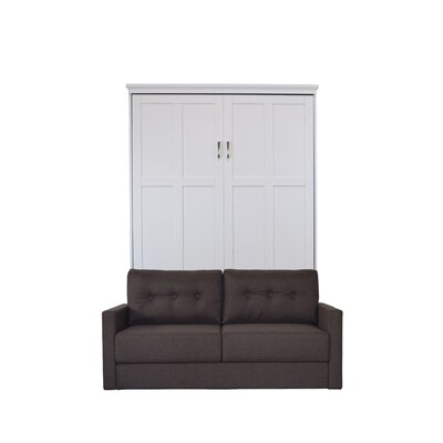Merrionette Queen Murphy Bed with Sofa Upholstery: Scotts Highland, Finish: White