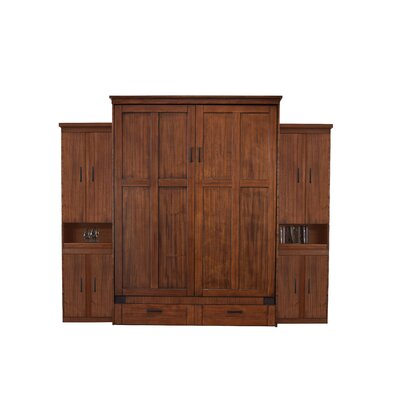 Merrionette Queen Murphy Bed with Two Bookcases Finish: Cinnamon