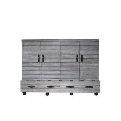 Bharti Shiplap Mobile Queen Murphy Bed with Mattress Color: Charcoal