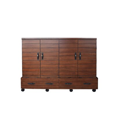 Bharti Shiplap Mobile Queen Murphy Bed with Mattress Color: Cinnamon