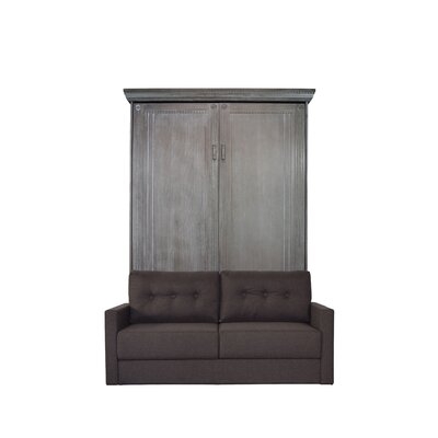 Cedarville Upholstered Murphy Bed with Sofa Color: Charcoal Wash/Brown