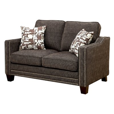 Rosy Nailhead Fabric Loveseat Upholstery: Brown