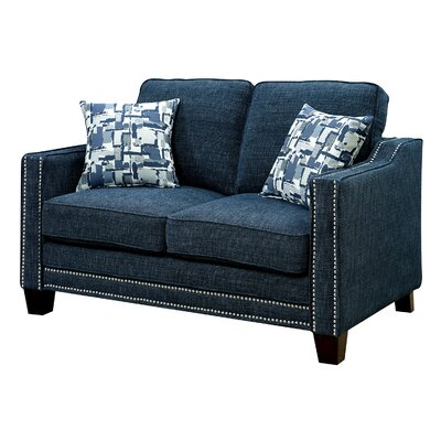 Rosy Nailhead Fabric Loveseat Upholstery: Blue