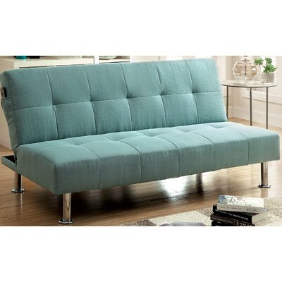 Tufted Futon Sleeper Sofa Upholstery: Blue