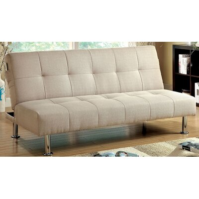 Tufted Futon Sleeper Sofa Upholstery: Ivory