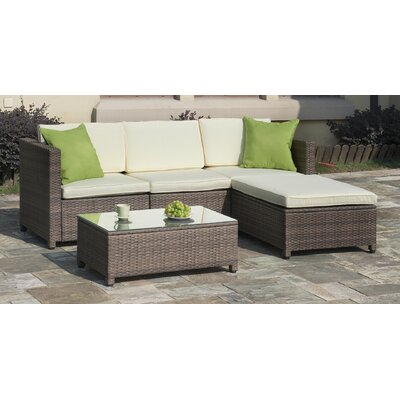 Palm Spring 5 Piece Sectional Seating Group with Cushion
