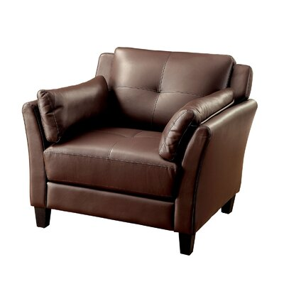 Double Stitching Armchair Upholstery: Brown