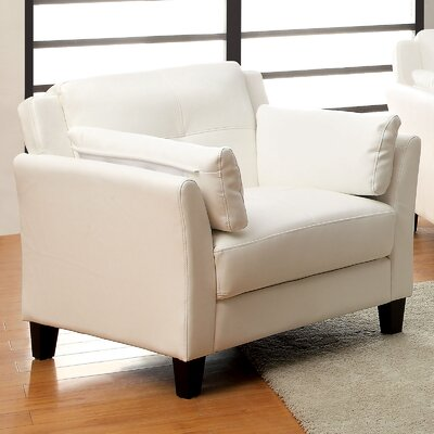 Double Stitching Armchair Upholstery: White