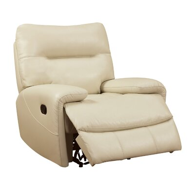 Tufted Breathable Leatherette Recliner Upholstery: Ivory