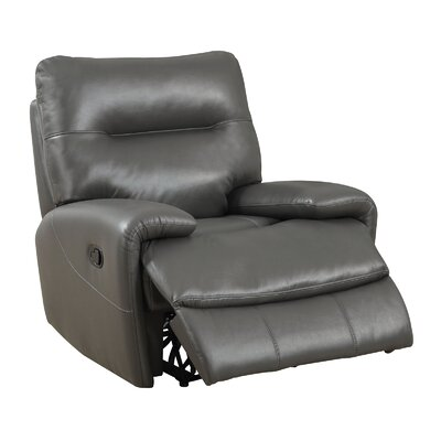 Tufted Breathable Leatherette Recliner Upholstery: Gray