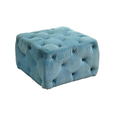 Deep Button Tufting Ottoman Upholstery: Blue