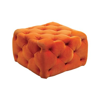 Deep Button Tufting Ottoman Upholstery: Orange