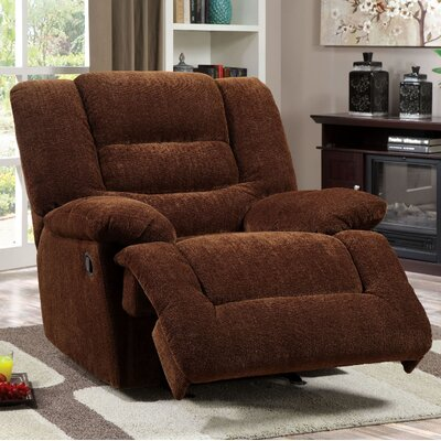 Tufted Chenille Fabric Recliner Upholstery: Brown