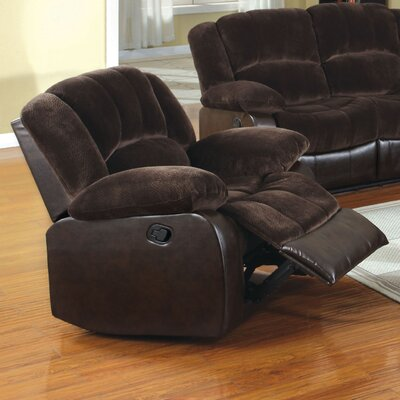 Tufted Champion Fabric and Leatherette Recliner