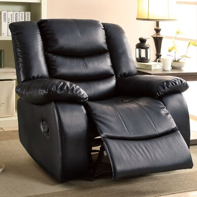 Tufted Leatherette Recliner Upholstery: Black
