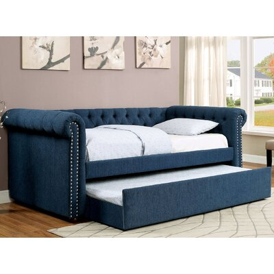 Leona Daybed with Trundle Color: Dark Blue, Size: Twin
