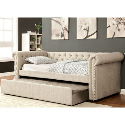 Leona Daybed with Trundle Color: Beige