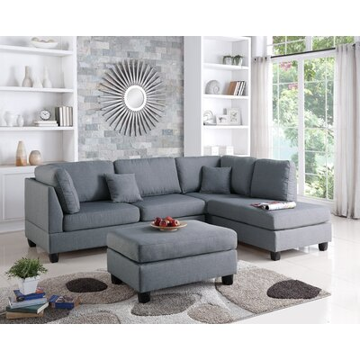 Lucas Reversible Sectional Upholstery: Gray
