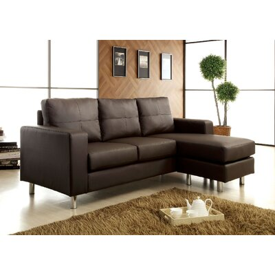 A&J Homes Studio WF2DBROWN Reversible Chaise Sectional Upholstery