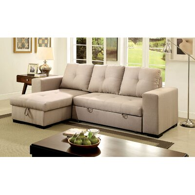 Sepanek Reversible Sleeper Sectional Upholstery: Ivory