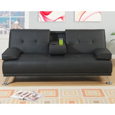 Joan Convertible Sofa Upholstery: Black