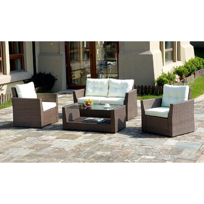 4 Piece Deep Seating Group with Cushion Fabric: Ivory