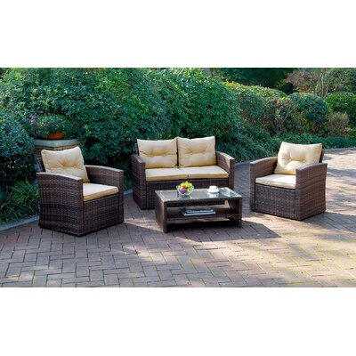 4 Piece Deep Seating Group with Cushion Fabric: Beige