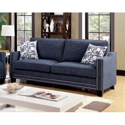 Rosy Nailhead Sofa Upholstery: Blue