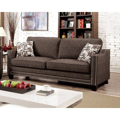 Rosy Nailhead Sofa Upholstery: Brown