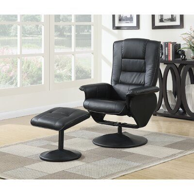 Able Manual Rocker Recliner with Ottoman Color: Black