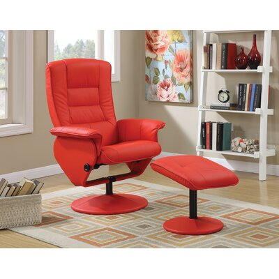 Able Recliner and Ottoman Color: Red