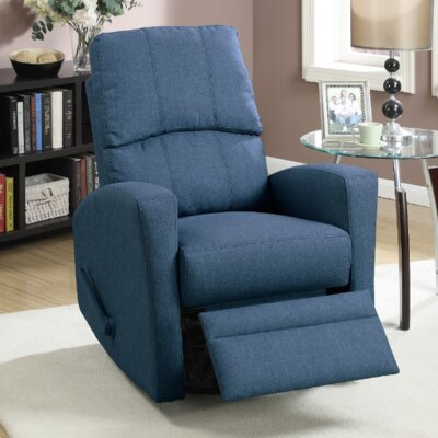 Flora Upholstered Manual Swivel Recliner Color: Blue