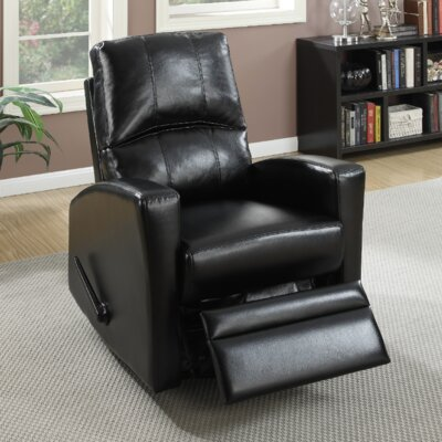 Flora Upholstered Manual Swivel Recliner Color: Black