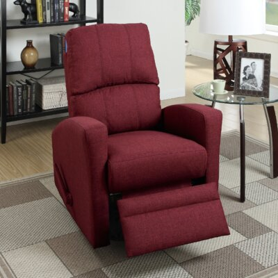 Flora Upholstered Manual Swivel Recliner Color: Red