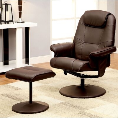 Stanley Upholstered Swivel Recliner and Ottoman Color: Brown