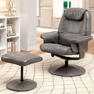 Stanley Upholstered Swivel Recliner and Ottoman Color: Gray