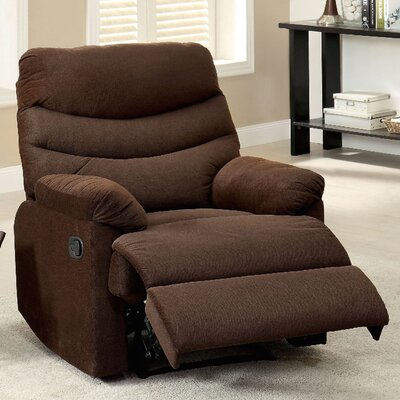 Lora Upholstered Manual Rocker Recliner Color: Brown