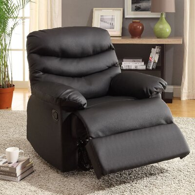 Baley Upholstered Recliner Color: Black