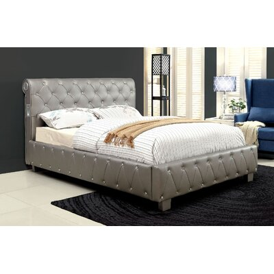 Upholstered Panel Bed Size: Queen, Color: Silver